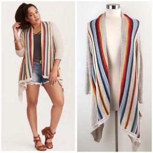 Torrid | Draped Striped Knit Cardigan